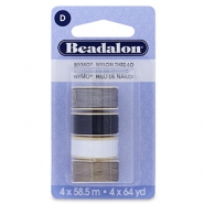 Beadalon Nymo Wire 0.3mm 4 Stück White, grey, brown, black