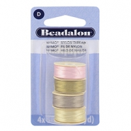 Beadalon Nymo Wire 0.3mm 4 Stück Pink, sand ash grey, creme white, gold