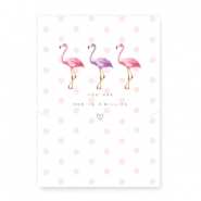 "Schmuck Wunschkarte ""You are one in a million"" mit Flamingo White-pink"