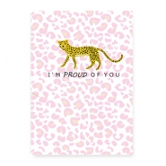 "Schmuck Wunschkarte ""proud of you"" Leopard white-pink"