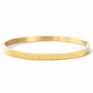 "Armbänder aus Stainless Steel - Rostfreiem Stahl ""LOVE LIFE AND ENJOY EVERY MOMENT"" Gold"