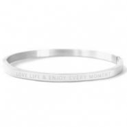 "Armbänder aus Stainless Steel - Rostfreiem Stahl ""LOVE LIFE AND ENJOY EVERY MOMENT"" Silver"