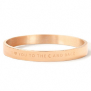 "Armbänder aus Stainless Steel - Rostfreiem Stahl ""I LOVE YOU TO THE MOON AND BACK"" Rosegold"