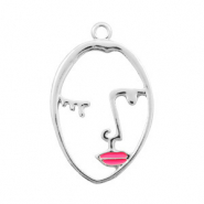 Basic quality Metall Anhänger lined Face pink Lips Silber