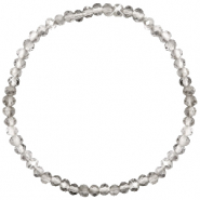 Top Facett Glas Armbänder 4x3mm Greige crystal-pearl shine coating