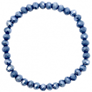 Top Facett Glas Armbänder 6x4mm Crown blue-pearl shine coating