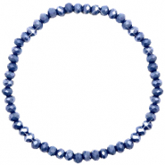 Top Facett Glas Armbänder 4x3mm Crown blue-pearl shine coating