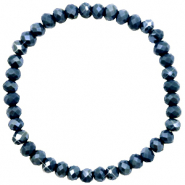 Top Facett Glas Armbänder 6x4mm Dark blue-pearl shine coating