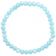 Top Facett Glas Armbänder 6x4mm Light blue-pearl shine coating