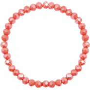 Top Facett Glas Armbänder 6x4mm Vintage rose peach-pearl shine coating