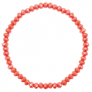 Top Facett Glas Armbänder 4x3mm Vintage rose peach-pearl shine coating