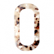Resin Anhänger lang oval 56x30mm Mixed beige brown