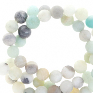 Halbedelstein Perlen rund 8mm Aventurine Quartz Matt Multicolour blue-grey