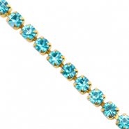 Strass Ketten Turquoise blue-gold
