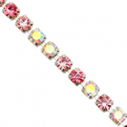 Strass Ketten Pink crystal AB-silver