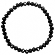 Facett Glas Armbänder 6x4mm Jet black-pearl shine coating