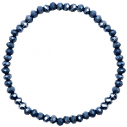 Facett Glas Armbänder 4x3mm Dark blue-pearl shine coating