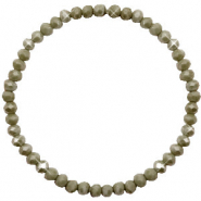 Facett Glas Armbänder 4x3mm Olive green-pearl shine coating
