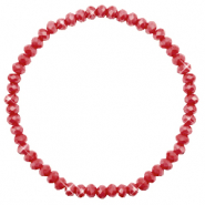 Facett Glas Armbänder 4x3mm Chillipeper red-pearl shine coating