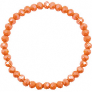 Facett Glas Armbänder 6x4mm Rust orange-pearl shine coating