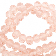 Top Glas Facett Perlen 3x2 mm rondellen Peachy rose-pearl shine coating