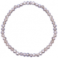 Top Facett Glas Armbänder 4x3mm Greige purple- pearl shine coating