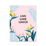 "Schmuck Karten ""live love laugh"" Pink-blue"