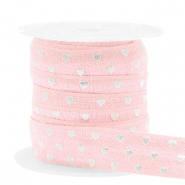 Elastisches Band Herz Light pink-silver