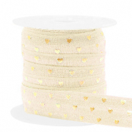 Elastisches Band Herz Silk white-gold