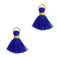Perlen Quaste 1cm Gold-princess blue