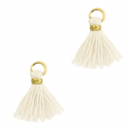 Perlen Quaste 1cm Gold-off white
