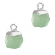 Naturstein Anhänger Hexagon Light green-silver