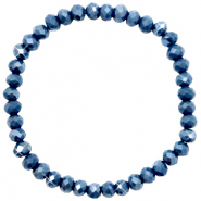 Facett Glas Armbänder 6x4mm Peacoat blue-pearl shine coating