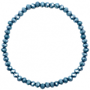 Facett Glas Armbänder 4x3mm Peacoat blue-pearl shine coating