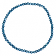 Facett Glas Armbänder 3x2mm Peacoat blue-pearl shine coating