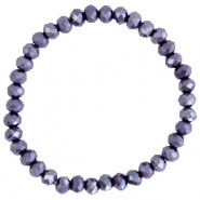 Facett Glas Armbänder 6x4mm Grape purple-pearl shine coating