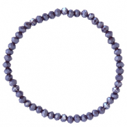 Facett Glas Armbänder 4x3mm Grape purple-pearl shine coating