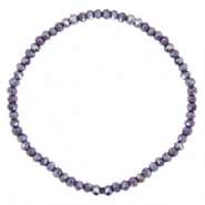 Facett Glas Armbänder 3x2mm Grape purple-pearl shine coating