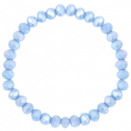 Facett Glas Armbänder 6x4mm Lavender blue-pearl shine coating