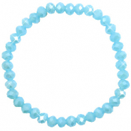Facett Glas Armbänder 6x4mm Crystal blue-pearl shine coating