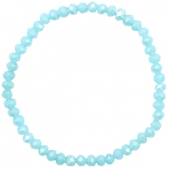 Facett Glas Armbänder 4x3mm Crystal blue-pearl shine coating