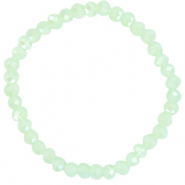 Facett Glas Armbänder 6x4mm Paradise green-pearl shine coating