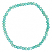 Facett Glas Armbänder 4x3mm Light teal green-pearl shine coating