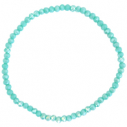 Facett Glas Armbänder 3x2mm Light teal green-pearl shine coating