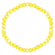Facett Glas Armbänder 6x4mm Blazing yellow-pearl shine coating