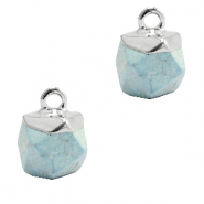 Naturstein Anhänger Hexagon Ice blue-silver