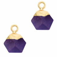 Naturstein Anhänger Hexagon Purple-gold