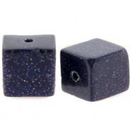 4 mm Naturstein Perlen Square Black-blue