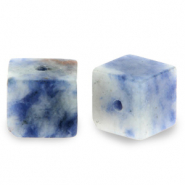 4 mm Naturstein Perlen Square Blue white