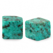 4 mm Naturstein Perlen Square Ocean blue